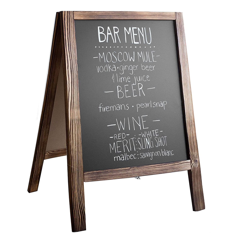 Wooden A-Frame Sign with Eraser & Chalk - Magnetic Sidewalk Chalkboard – Sturdy Freestanding Stained Wood Sandwich Board Menu Display for Restaurant, Business or Wedding