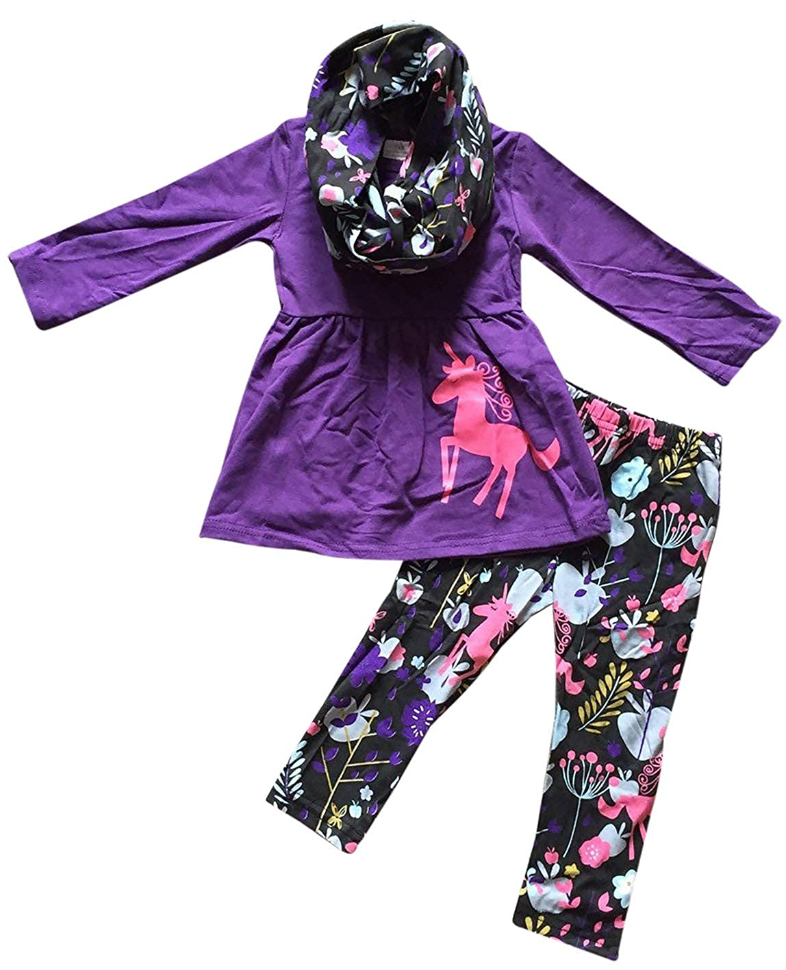 Little Girls 3 Pieces Set Unicorn Halloween Pumpkin Outfit Top Scarf Pant Set