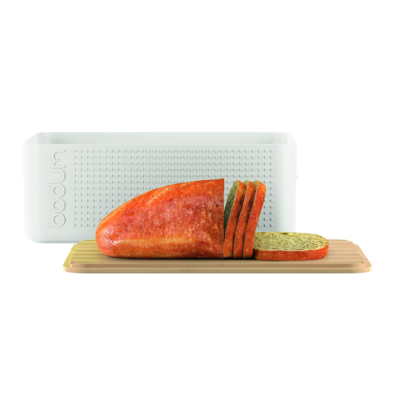 ... Bistro Bread Box with Bamboo Cutting Board - Off white NEW | eBay