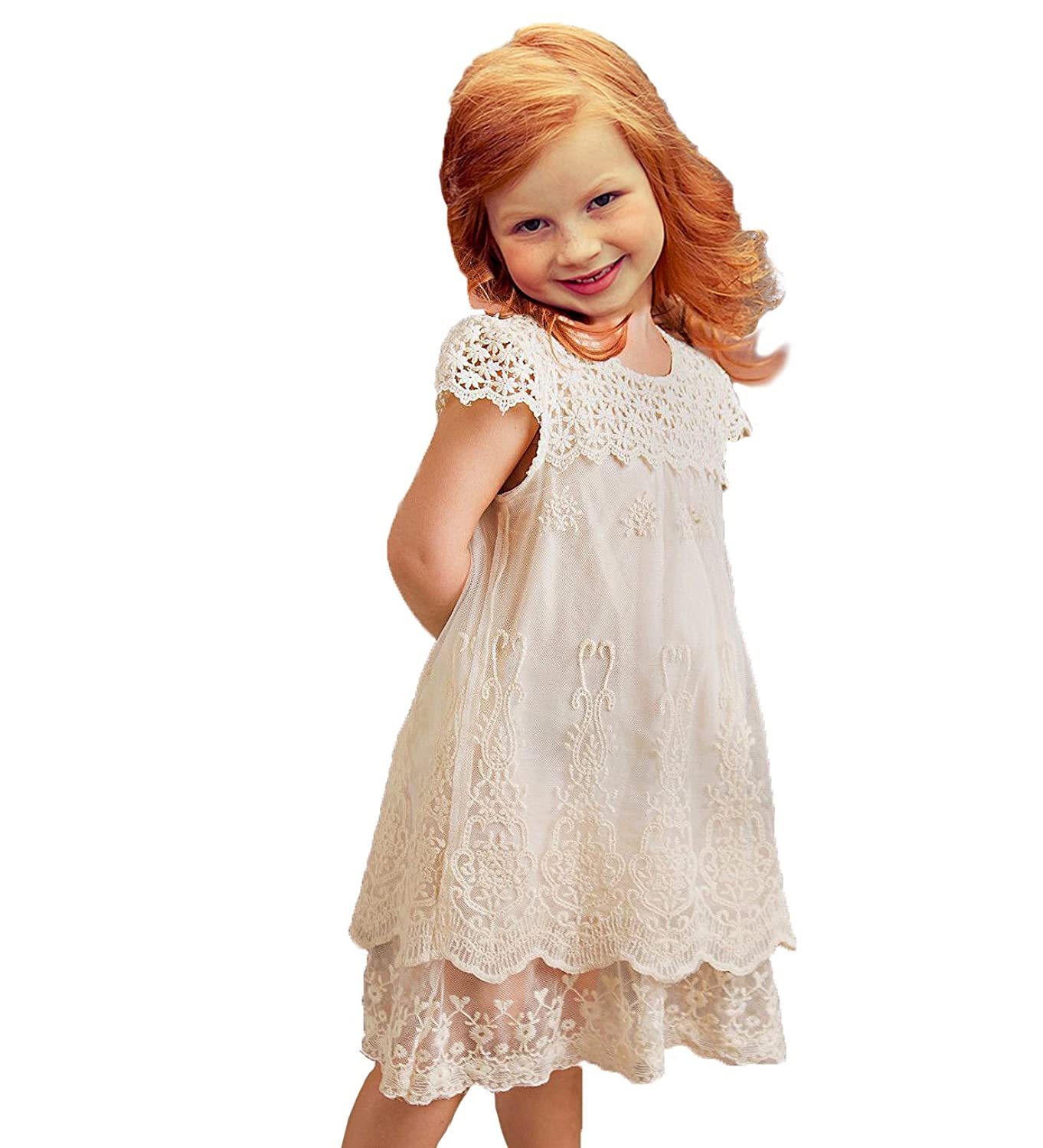 1930s Childrens Fashion: Girls, Boys, Toddler, Baby Costumes Off White Lace Flower Girl Dress  AT vintagedancer.com