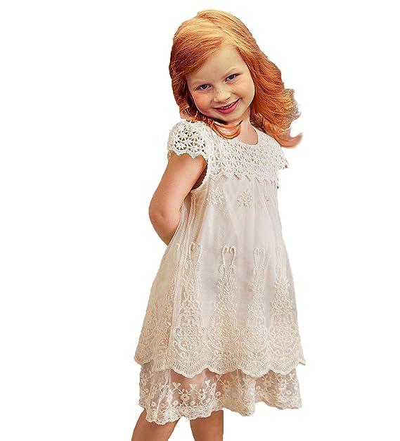 Vintage Rustic Lace Flower Girl Dress
