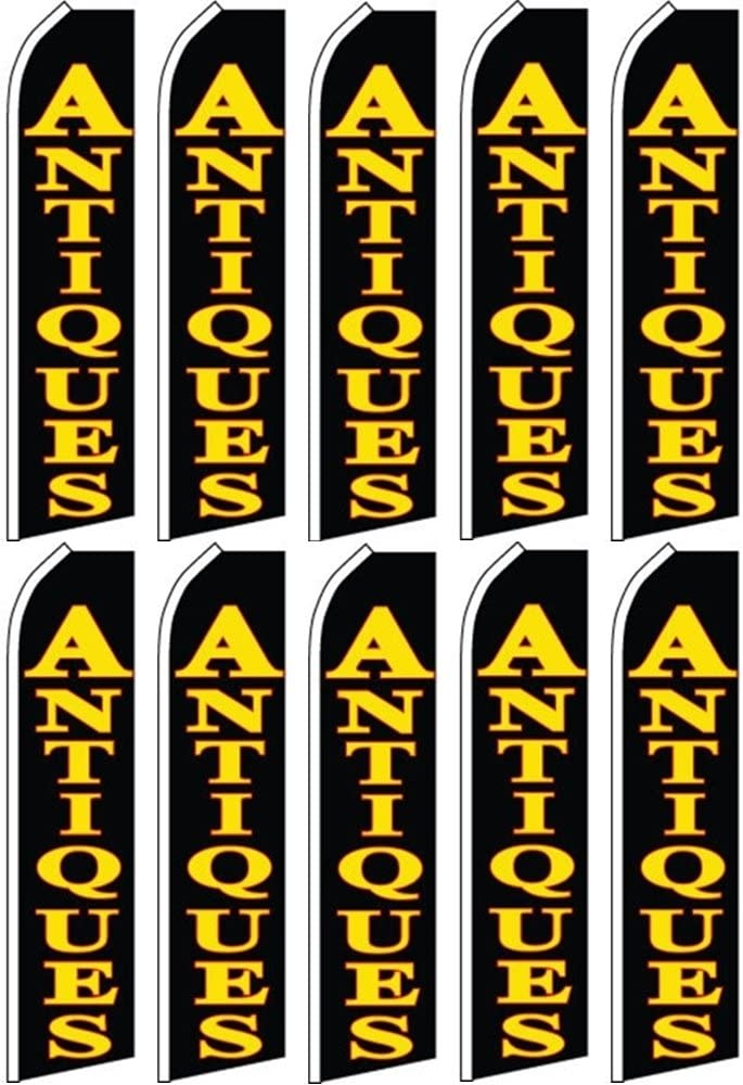 10 Swooper Flutter Flags ANTIQUES Black Yellow