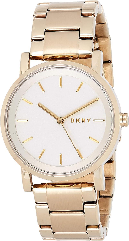 DKNY–Reloj de Pulsera analógico de Cuarzo (Talla Única), Color Plateado