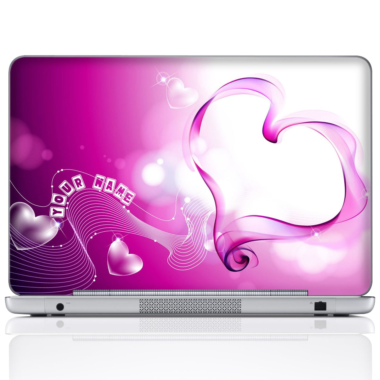 Amazon com meffort inc personalized laptop notebook notebook skin sticker cover art decal customize your name 15 6 inch pink heart computers
