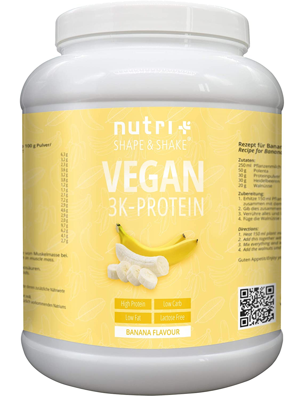 Nutri-Plus Shape & Shake Vegan Banane 1kg – Veganes Eiweißpulver ohne Aspartam, Laktose & Milcheiweiß