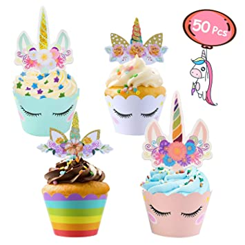ZAWTR 50 Piezas Decoracion Cupcake Unicornio, Unicornio ...