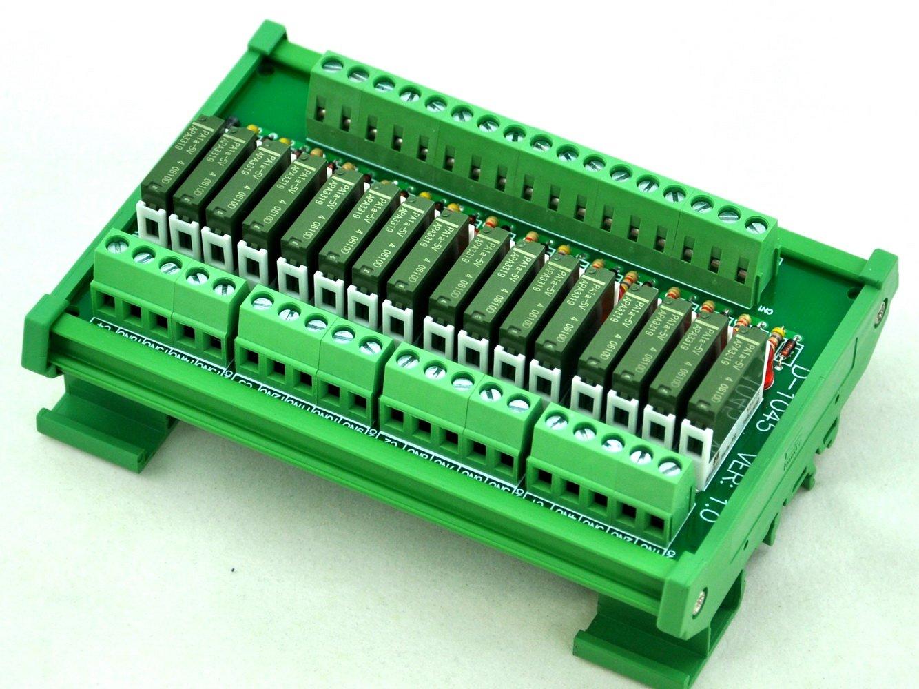 PA1a-5V ELECTRONICS-SALON Slim DIN Rail Mount DC5V Source//PNP 16 SPST-NO 5A Power Relay Module