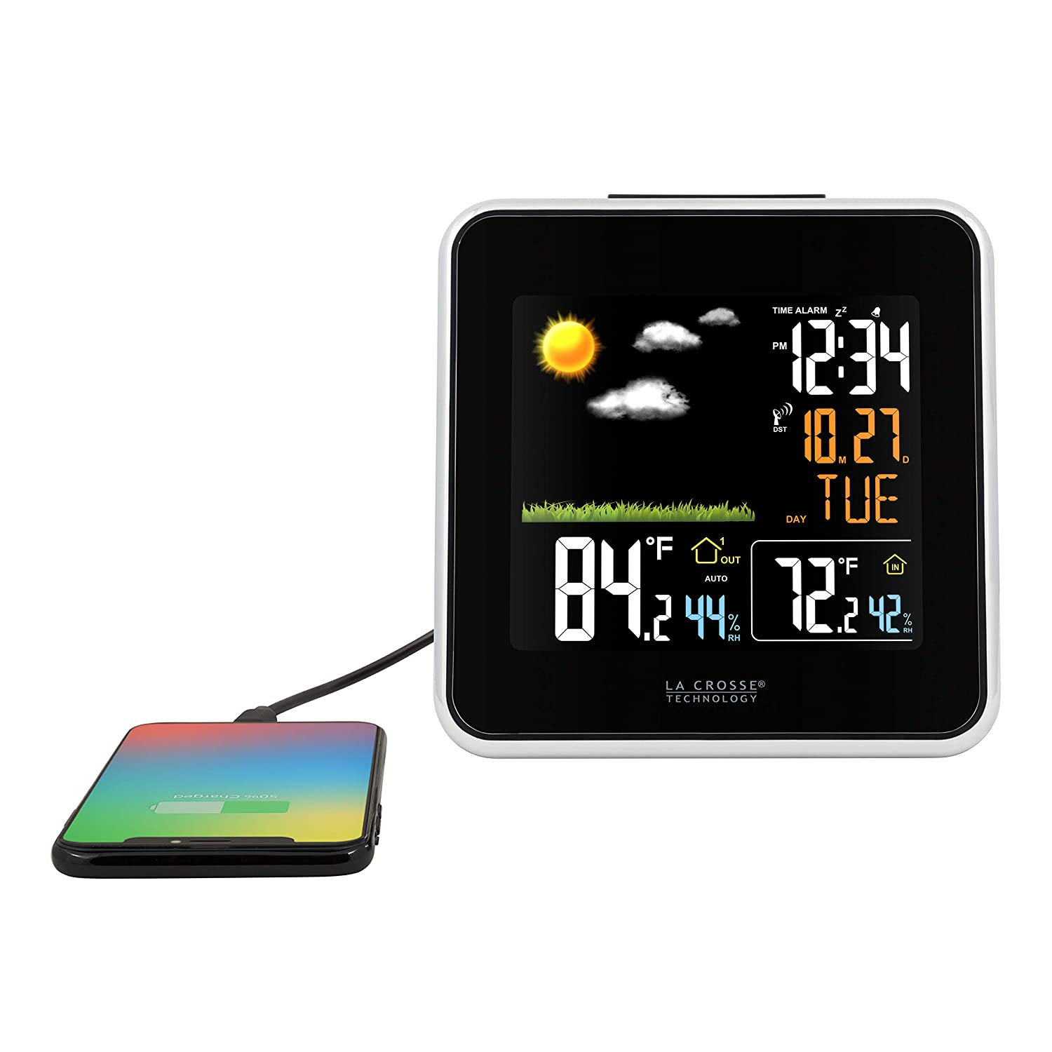 La Crosse Technology 308-146 Atomic Wireless Color Forecast Station with Dew Point, Heat Index, USB Charging Port