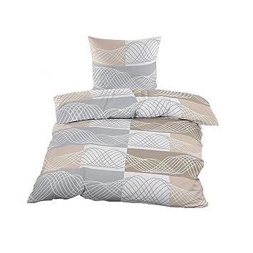 mit Reißverschluss Baumwolle Bettwäsche 135x200 cm beige braun Ornamente 4 tlg