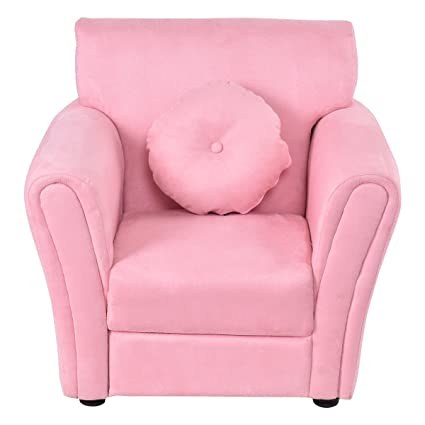 Costzon Kids Sofa Toddler Armrest Chair Couch W Mini Pillow For Girls Boys Bedroom Living Room Children Furniture Pink