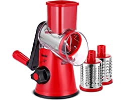 Geedel Rotary Cheese Grater, Kitchen Mandoline Vegetable Slicer with 3 Interchangeable Blades, Easy to Clean Rotary Grater Sl