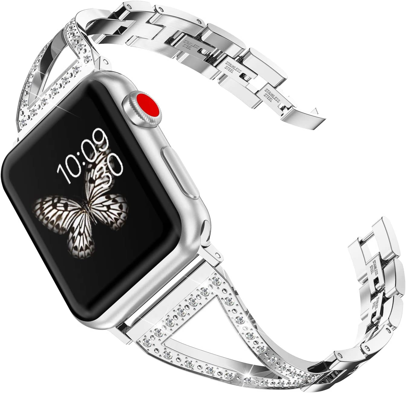 Wearlizer Silver Womens Compatible with Apple Watch Band 40mm 38mm for iWatch SE Jewelry Stainless Steel Bling V-Link Wristband Rhinestone Strap Luxury Replacement Metal Bracelet Series 6 5 4 3 2 1