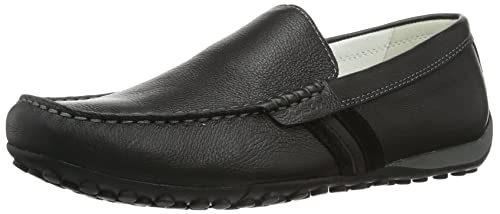 Geox Mens Shoes U Snake Moc U Tumbled Leather Moccasins-Black-11