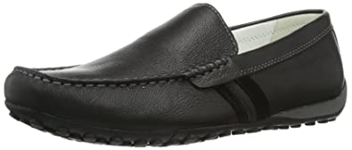 Geox Mens Shoes U Snake Moc U Tumbled Leather Moccasins-Black-12.5