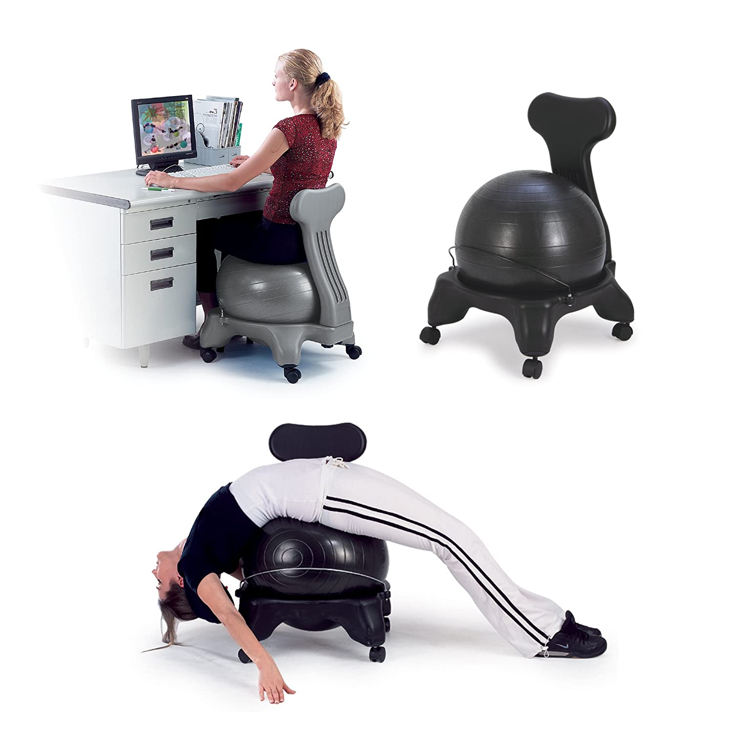 Sivan Health And Fitness Balance Fit Chair with Ball and ...