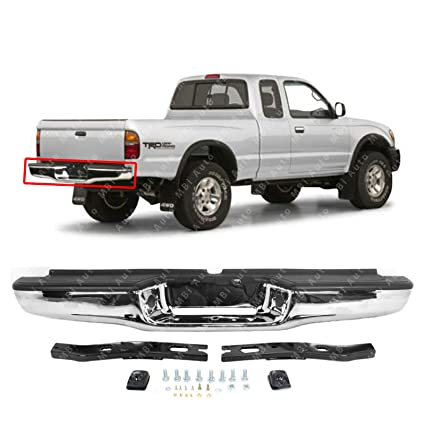 amazon com: mbi auto - steel chrome, complete rear bumper assembly  w/hardware for 1995-2004 toyota tacoma pickup, to1102215: automotive