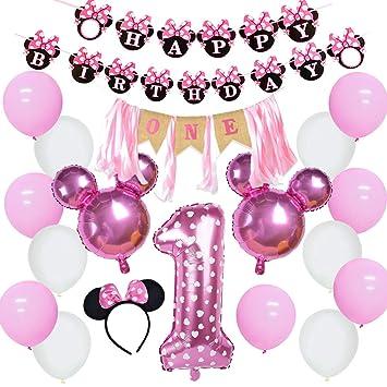 Jollyboom Decoraciones temáticas de 1er cumpleaños de Minnie ...