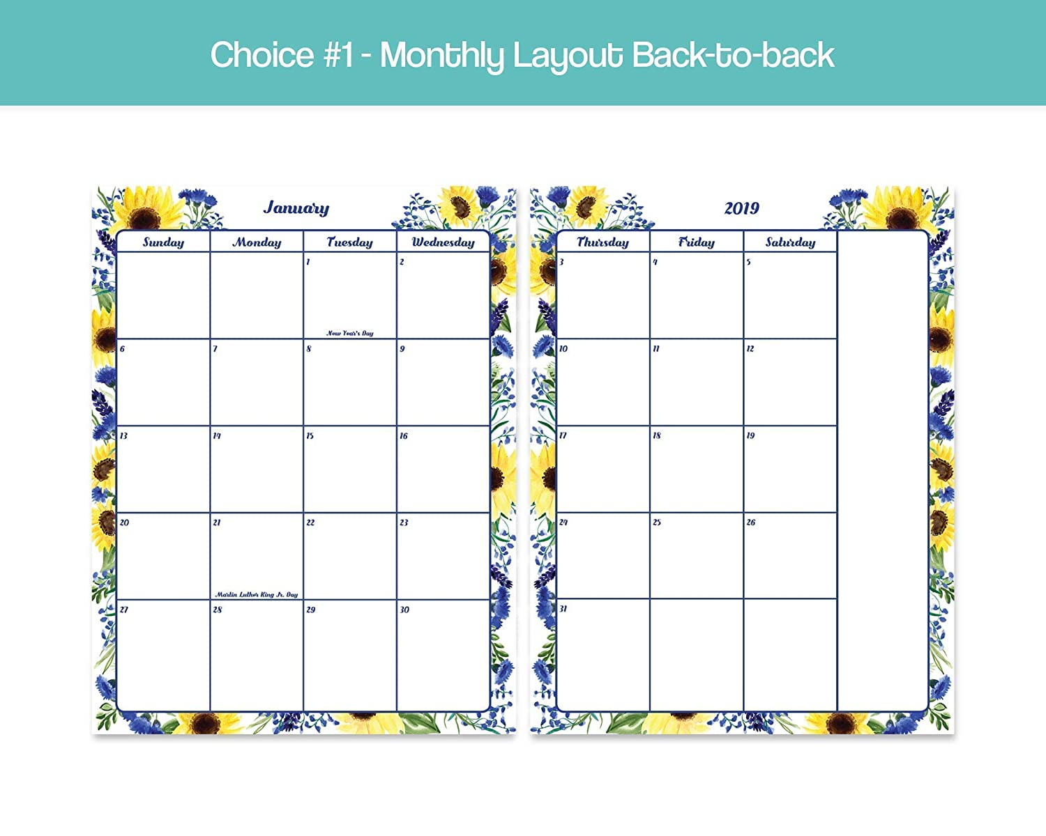 Dated Monthly Calendar Inserts Blue /& Yellow Floral Choose from Letter or Half-letter size