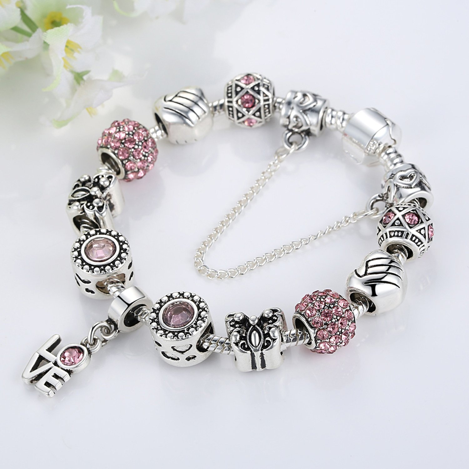 130dcf8e4fe0b YOUFENG Love Beads Charms Bracelet for Girls and Women Murano Glass ...