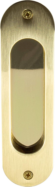 Gedotec Tirador para puerta corredera, ovalado, 3665C, 121 x 33 mm, latón envejecido, acabado dorado pulido, para empotrar, 1 pieza, estilo vintage con tornillos