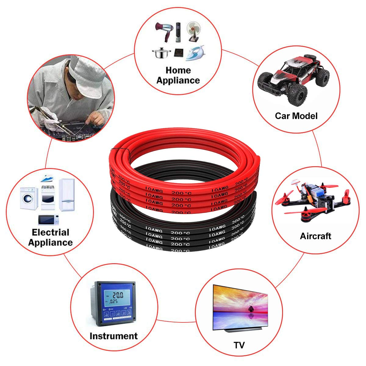 10 Gauge Silicone Wire 10AWG 16.4ft Drone Soft and Flexible,Super Low Impedance,10 AWG Silicone Wire 1050 Strands of 0.08 mm Copper Wire for RC Car 8.2ft// Black and 8.2ft Red Airplane Battery etc