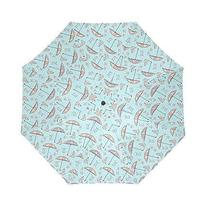 Generic paraguas de gatos y perros AUTO paraguas poliéster Pongee impermeable compacto paraguas automático paraguas plegable