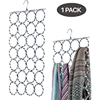 Flexzion Scarf Tie Hanger - Foldable 28 Circles/Ring Slots Space Saving Holder Organizer Storage For Socks Scarves Rack Belt Mufflers and Shawl Accessory Door Closet Organization