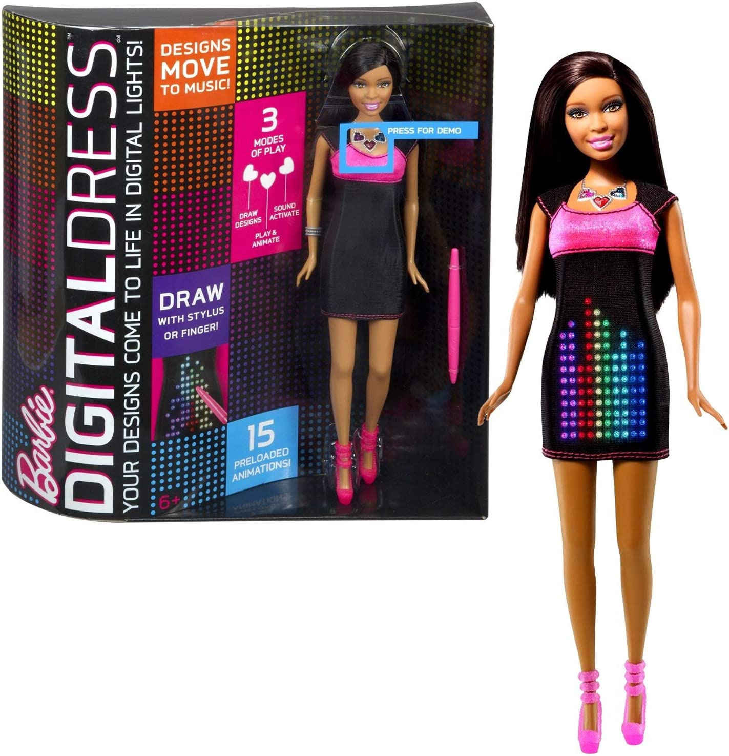 Amazon Com Mattel Year 2013 Barbie Digital Dress Series 12 Inch Doll Set African American Nikki Y8179 With Led Dress That Lights Up And Reacts To Sound Plus 15 Preloaded Animations Stylus