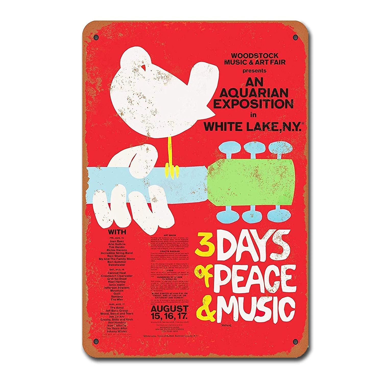 Woodstock Music Vintage Tin Sign Metal Decor Metal Sign TIN Sign 7.8X11.8 inch