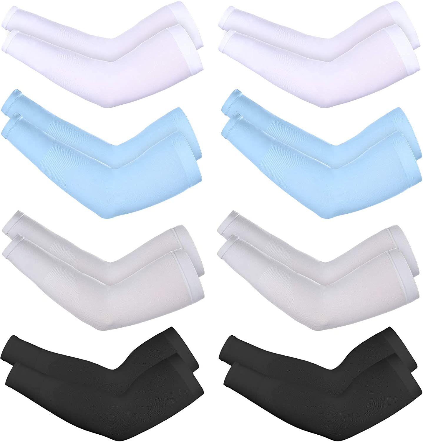 8 Pairs Unisex Arm Sleeves Sun Protection Cooling Sleeves for Driving Jogging Golfing Riding Outdoor Activities