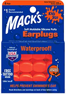 product image for Mack's Soft Moldable Silicone Putty Ear Plugs - Kids Size, 6 Pair - Comfortable Small Earplugs for Swimming, Bathing, Travel, Loud Events and Flying