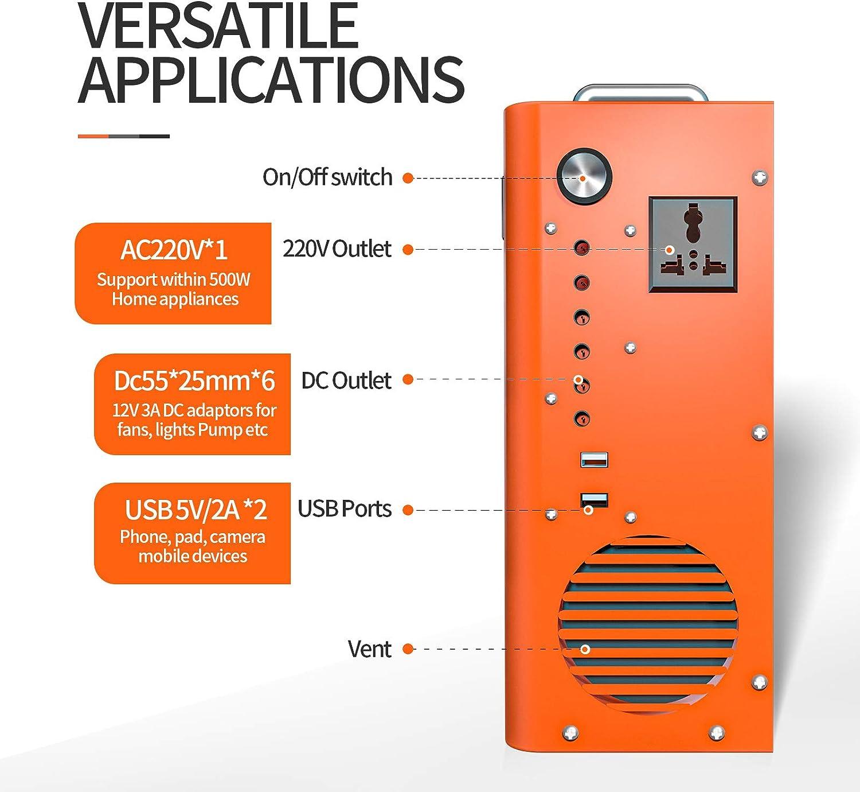ECO-WORTHY Tragbarer Stromerzeuger Kraftstation Notfall 750 Wh eingebauter LiFePO4 Akku mit AC//DC Aufladung durch Solarpanel//Wandsteckdose f/ür Energiespeicherung Camping-Beleuchtungssystem