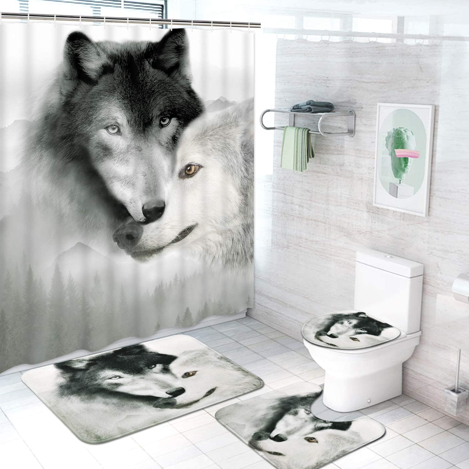 Pknoclan 4 Pcs Wolf Shower Curtain Set with Non-Slip Rug, Toilet Lid Cover and Bath Mat, Waterproof Wild Animal Shower Curtain with 12 Hooks, Wolf Bathroom Set, Black White