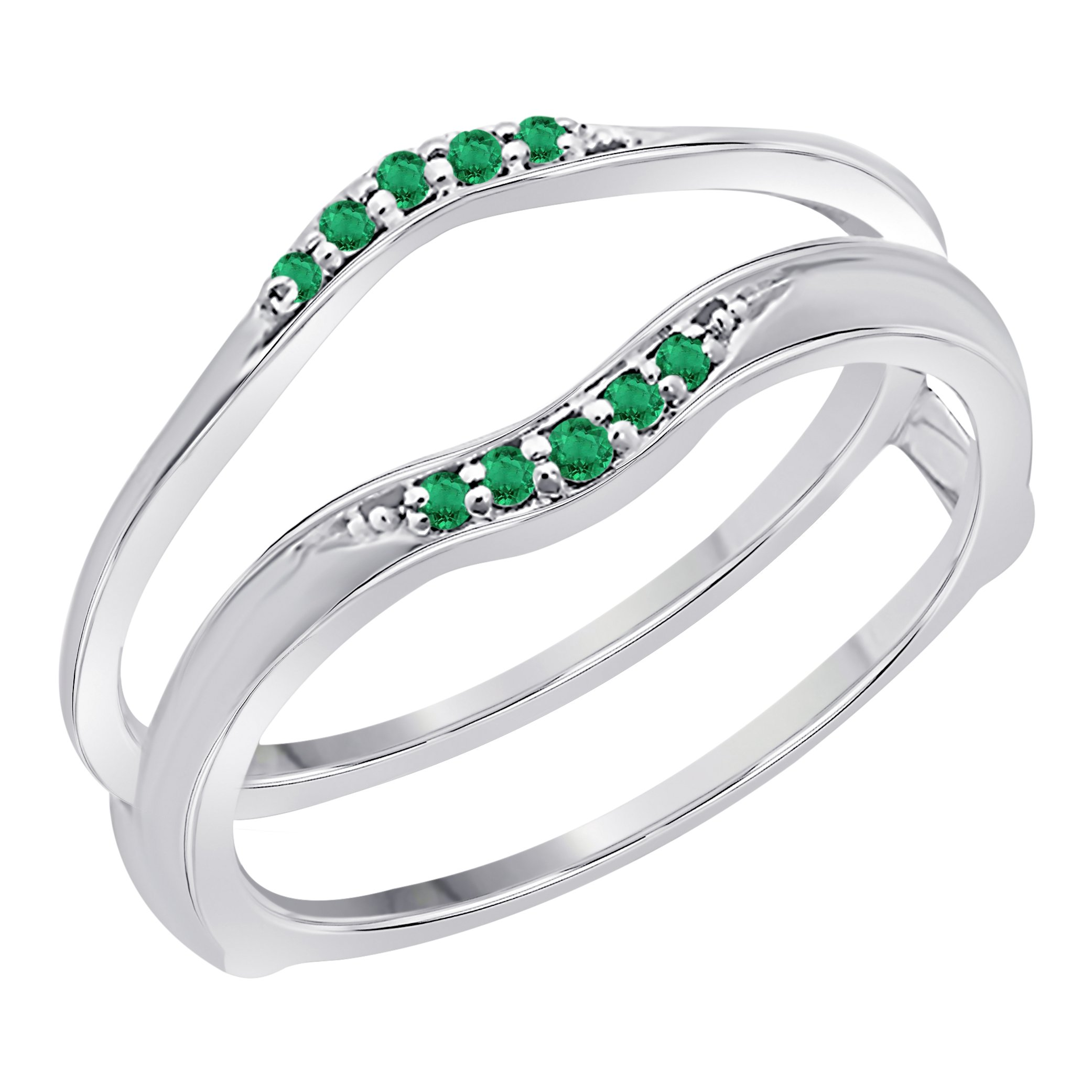 Sterling Silver Plated Delicate Combination Curved Style Vintage Wedding Ring Guard Enhancer CZ Green Emerald (1/6 ct. tw.)