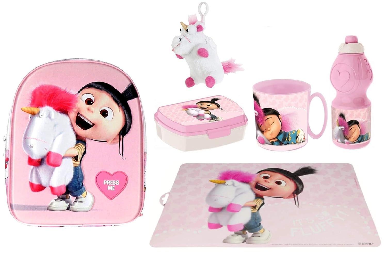 Porta Merenda Borraccia Tazza Scuola Asilo Tempo Libero Cattivissimo Me Agnes con Unicorno in 3D Zainetto Zaino