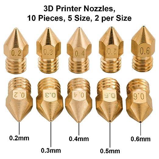Juego de 10 boquillas para impresora 3D de Laoye, 5 tamaños de 0,2 ...