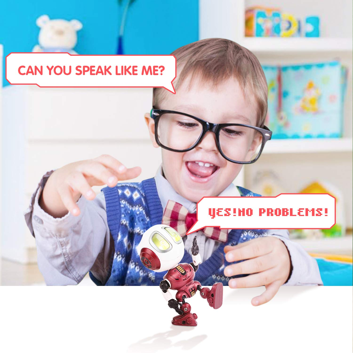 Peradix Recording Talking Interactive Robot with illuminated LED lights and voice repeat function , Robot Toys For boys girls Toddlers Kids Birthday Presents Gifts(Red)