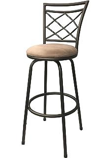 Halfy Round Seat Counter To Bar Height Adjustable 360 Degree Swivel Metal Bar  Stool