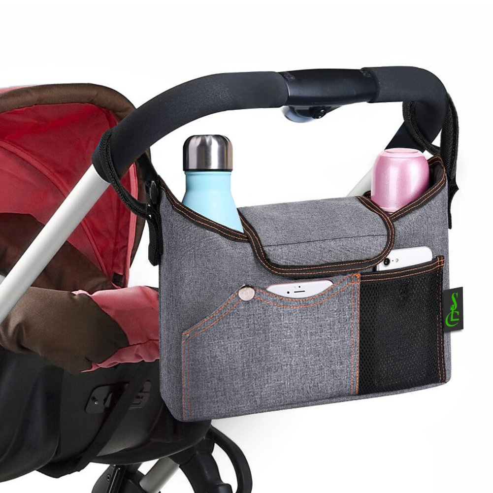 SLC Baby Stroller Organizer Bag Mummy Organiser with Shoulder Strap Cup Holders and Extra Large Storage Space for iPhones iPads Diapers Toys Wallet Bottle Baby Accessories yamahuanqiu