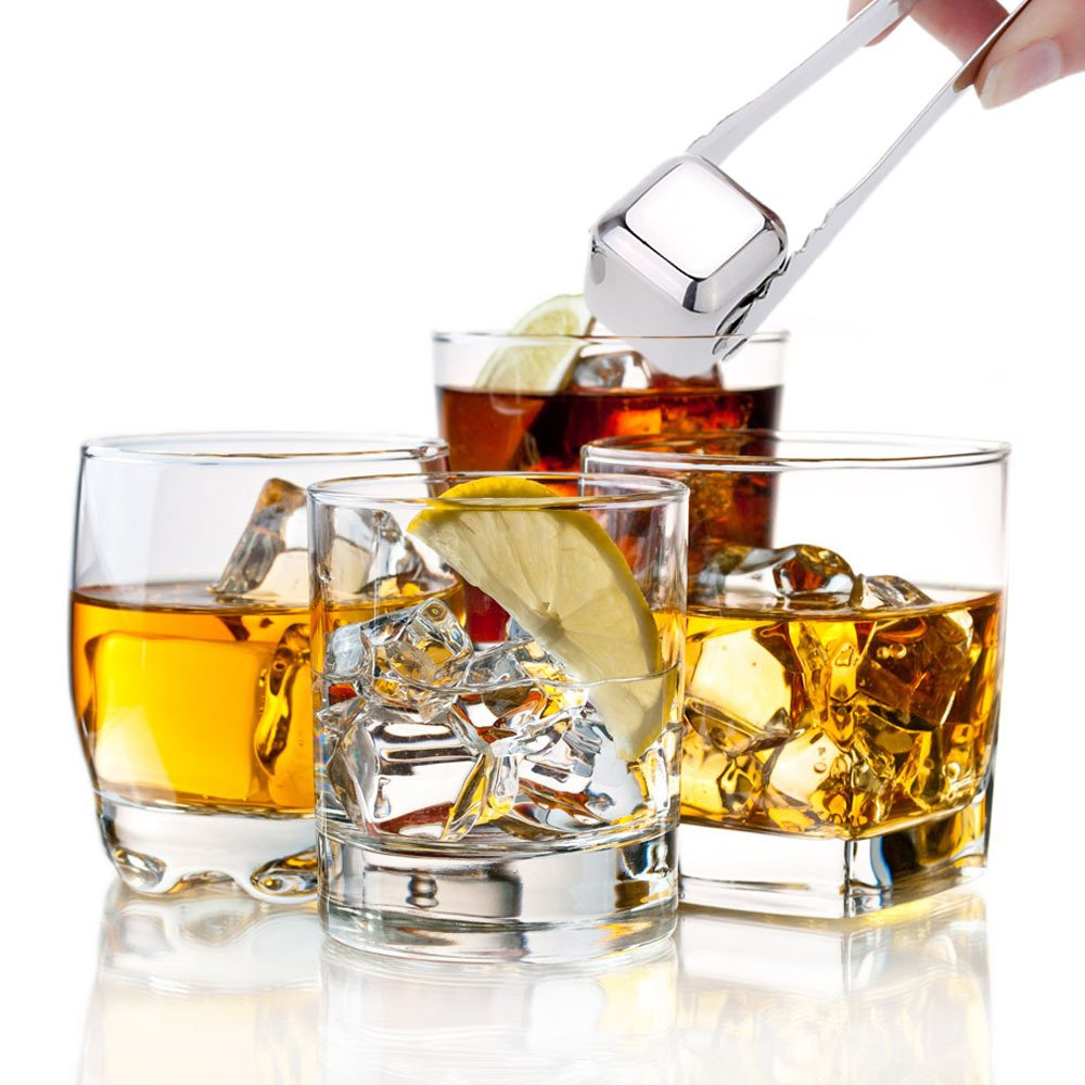 Large-ZJing Whiskey Stones Stainless Steel Ice Cubes - Reusable Whisky Chilling Rocks - Set of 8 with Tongs & Freezer Storage Tray for Beer Wine Cooler