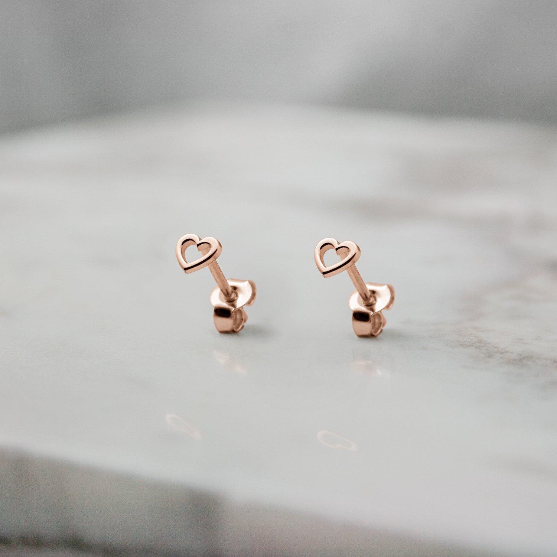 c9f2c5443cdf8 Tiny Heart Earrings, 9K, 14K, 18K Gold Earrings, Rose Gold Studs, Small  Stud Earrings, Gold Heart Frame Earrings, Gift For Her /code: 0.001