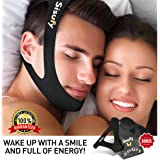 New Snore Stopper Anti Snoring Chin Strap - CPAP Chin Strap Designed to Stop Snoring - Anti Snoring Devices Travel Kit- Anti Snore Chin Strap, Nose Vents, Sleep Mask, Earplugs, Travel Bag