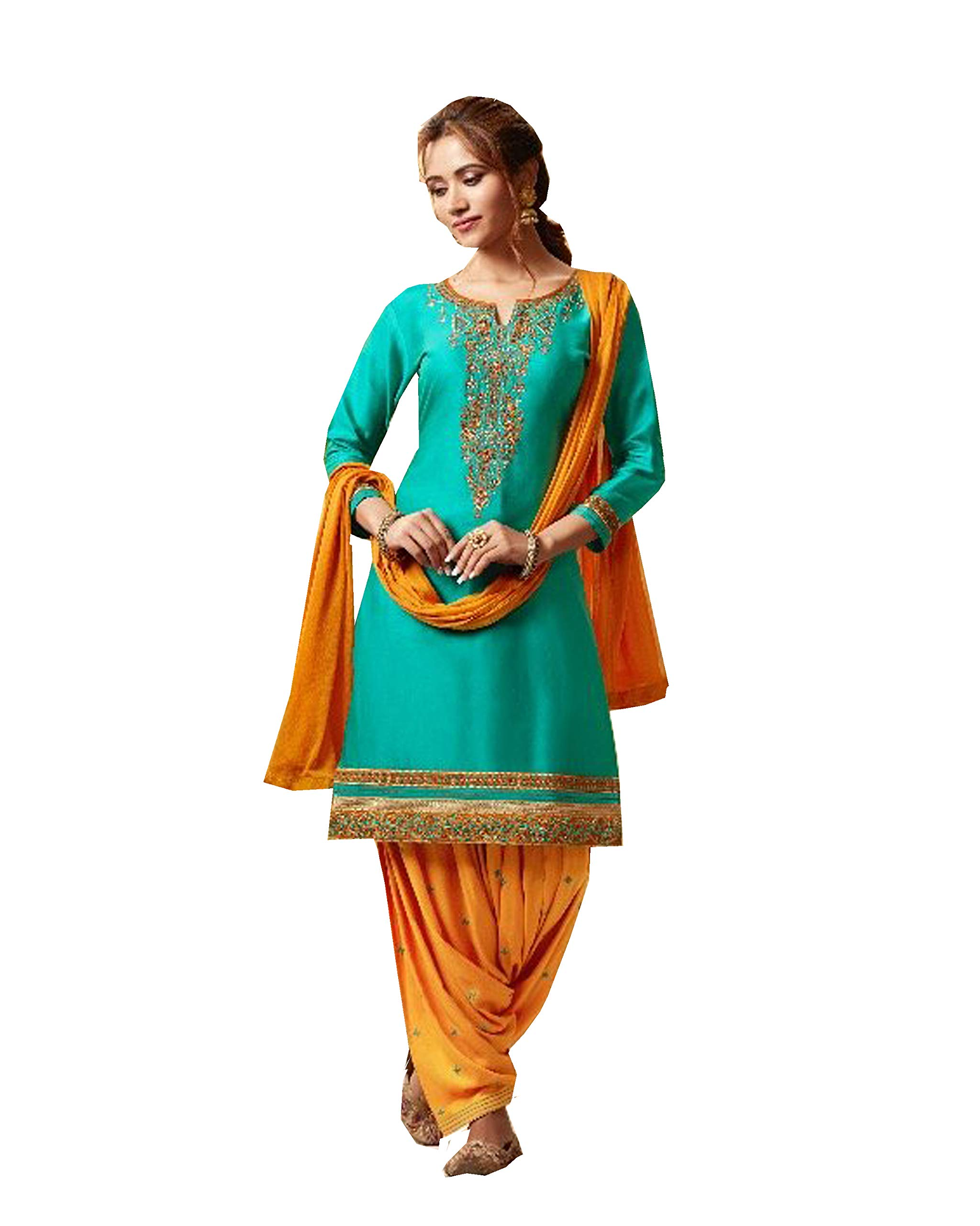 Ready to Wear Embroidered Cotton Punjabi Patiala Salwar Kameez for Womens (Turquoise, S-38)