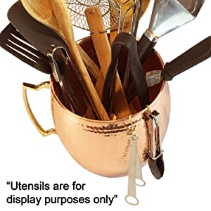 Hammered Copper Kitchen Utensil Holder (Solid not plated) - Large Utensil Crock with 10 Hooks (7.5 W by 8.27 H inches) - Copper Kitchen Decor Item