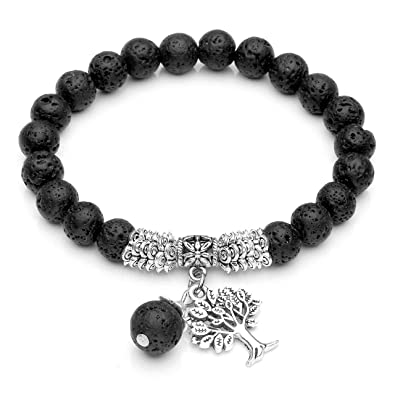 a96671392e83e Image Unavailable. Image not available for. Color  Top Plaza 8MM Natural  Gemstone Tree of Life Healing Crystal Lucky Charm Stretch Bracelet ...