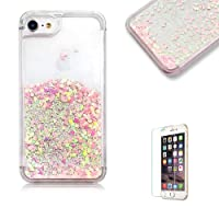 "For iPhone 8 Plus /7 Plus Case [with Free Screen Protector],Funyye Liquid Glitter Case Love Stars Flowing Floating Design Crystal Clear Colourful Change Protective Back Cover for iPhone 8 Plus /7 Plus 5.5""-Pink"