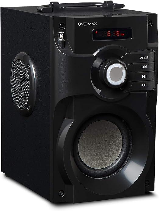 Overmax Bluetooth Lautsprecher Soundbeat 2 0 Usb Sd Aux Radio 15 W Mini Jack 35 Mm Miniusb Usb Akku 1800 Mah Fernbedienung Bluetooth Konnektivität 2 1 Edr Mp3 Unterstützung Lesbare Led Anzeige Audio Hifi
