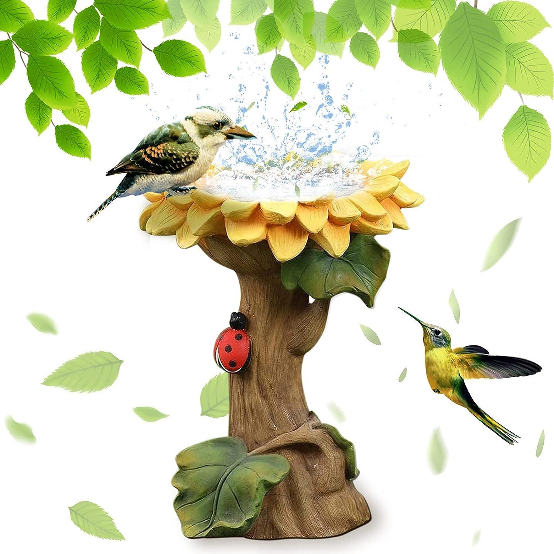 Clothinf New Bird Bath Feeders Bowl for Outdoors, Outside, Coneflower Bird Feeder, Hummingbirds, Bluebird,Oriole Feeders,Standing Sunflower Wild Bird feeders Stakes Decor for Garden Yard Decorations