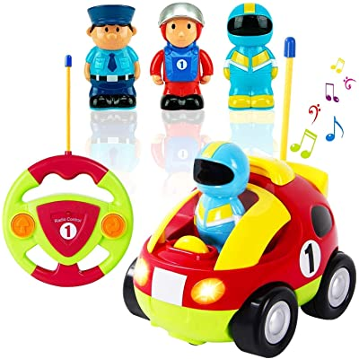 CAIDUD Liberty Imports My First Cartoon RC Race Car Radio Remote Control Toy for Baby, Toddlers, Children(Toddler Remote Control car/Gifts for Toddler Boys/Liberty Imports): Toys & Games