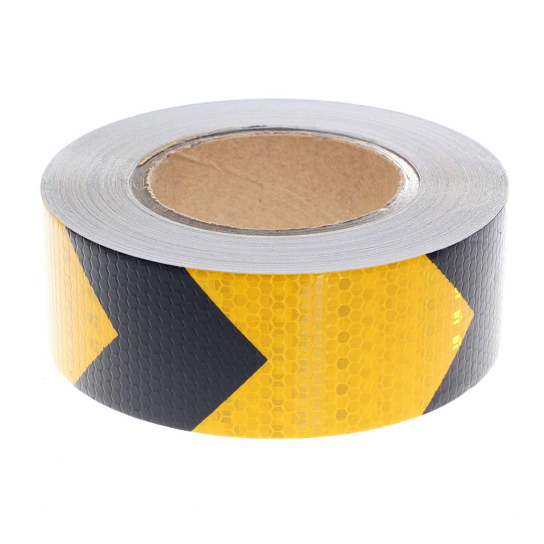 Adhesiv Warning Tape Stickers TUKA-i-AKUT 25Mx5cm Reflective Warning Tape Arrorw Shape Night Reflection Arrow Film Safety Sign Orietation Tape TKD5031 Red and White